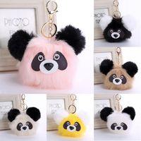 Wholesale Panda Car Accessories - New 2017 Faux Rabbit Fur Keychain Panda,Charm Women Girl Bag Phone Car Cute Key Chain Keyring Handbag Accessories 6 Styles D32Q