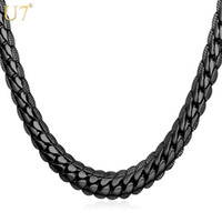 Wholesale Wide Gold Choker - New Black Long Necklace For Mens Fashion Gun Plated Wholesale Trendy 6 Size 6 MM Wide Snake Chain Necklace Men Jewelry N559