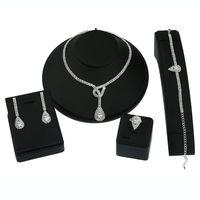 Wholesale Silver Necklace Bracelet Elegant - Elegant Jewelry Set Gold   Silver Color Water Drop Pendant Earring Necklace Ring Bracelet 4Pcs Wedding Bridal Accessories