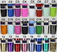 Wholesale Cups Cover Glass - Simple Color Double 304 Stainless Steel Insulation Cup 30 20 12 10 OZ Portable Car Cup Beer Glass With A Cover On
