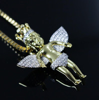 "Wholesale Clear Top Jewelry Boxes - Christmas gift jewelry for boyfriend top quality hip hop bling clear cz 24"" box chain gold bling angel necklace"