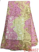 Wholesale Double Organza Fabric - High Quality African Organza Stones Lace Fabric 2016 Hot Sale 100% Polyester Double Color French Net Lace Fabric