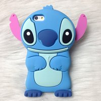 Wholesale Animal Ear Phones - for iPhone X 3D Stitch case Cute Silicone Rubber Gel Cartoon cases for iphone 7 8 plus Animal Blue Long Ears phone rubber Back cover HOT