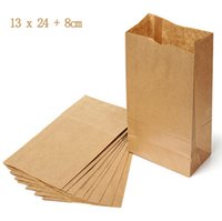 Wholesale Take Away Package - 5 pcs Environmental 13x24cm Brown Kraft Paper Food Packaging Bags   Shopping Bags for Grocery   Candy   Take-away Food