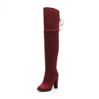 Wholesale Solid Pull Overs - New Hot Fashion Women's Shoes Faux Suede Platform High Heel Pull Up Over Knee Boots WB567