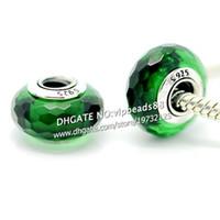 pulseira de cristal verde murano venda por atacado-S925 prata esterlina moda jóias floresta verde facadado Murano contas de vidro Fit europeu DIY pandora charme pulseiras colar