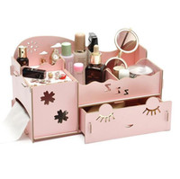 Wholesale Desktop Wooden - 2016 lovely Cute candy color Korean Desktop Organizer DIY Wooden Board Storage Box Desk Decor Stationery Makeup Cosmetic Organizer New