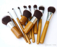Wholesale bamboo makeup brushes set for sale - Group buy 11pcs Professional High Quality Bamboo Makeup Brush Set Goat Hair Cosmetic Makeup Brushes Kit With Bag Make Up Tools Cosmetic Brushes