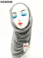 Wholesale Wholesale Hijab Pashmina Scarves - VICBOND Hot sale pure solid colour stripe viscose cotton scarf shawl pashmina women Muslim hijab fashion soft 10pcs lot