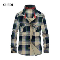 Camice all'ingrosso-Mens Plaid Camicie autunno Casual camicie a manica Army Green Man Cotton occidentale del cowboy più il formato campo 4XL 1592
