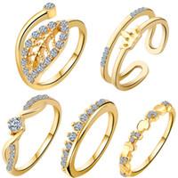 Wholesale girls sapphire ring - Wedding Rings For Women 18K Gold Crystal Austrian Zircon Rings Set Noble Charms Girls Sapphire Jewelry Wedding Ring Set