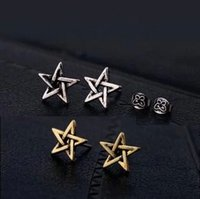 2016 Plus récent Vintage Antique Vintage Star of David Boucles d'Oreilles pour Femmes Superstar Small Pentagram Boucles d'oreilles Cheap Fashion Jewelry