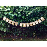 Wholesale Cardboard Photo Props - Wholesale- Vintage Happy Birthday Bunting Banner Cardboard BD Party Decoration Party Flag Garland Bunting Supplies Photo Booth Props
