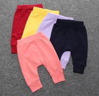 Wholesale Striped Pants Cheap - 2016 candy color baby cotton Harlan pants 0-2 years boys and girls PP pants cheap children autumn & winter slacks 5pcs A43
