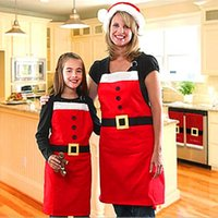 Wholesale Wholesale Aprons For Kids - Christmas Decoration Apron Kitchen Aprons Christmas Dinner Party Apron Santa Christmas Kitchen Apron for Adult Kids 0708043