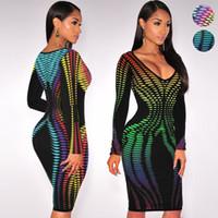 Wholesale Digital Print Dresses - Autumn Women Package hip Dress Robe Sexy Club Party Dresses Gradient Digital Printing Long Sleeve Ladies Bodycon midi Dress Vestido