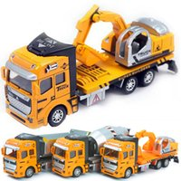 Wholesale Toy Model Pulling Trucks - Children Pull Back Toy Car Truck 1:48 Back Alloy + Plastic Car Model Toy Car Dump Truck Excavator Concrete YH063