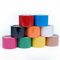 Wholesale Elastic Rolls - Wholesale-Colorful 5cm x 5m Sports Kinesiology Tape Roll Cotton Elastic Adhesive Muscle Bandage Strain Injury Support