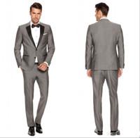Wholesale Mens Casual Jackets For Spring - 2016 Custom Grey Mens Suits Black Lapel Slim Fit Wedding Suits for Groom   Groomsmen Prom Casual Suits (Jacket+Pants+Vest+Bow Tie)