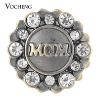Wholesale Jewelry Clasps Bronze - VOCHENG NOOSA Snap Love Mom Antique Bronze Inlaid Crystal Interchangeable Jewelry Vn-1318
