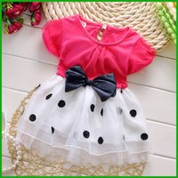 Wholesale Dress Polka Dot Pink Girls - baby girls summer layered vestido polka dot black bowknot toddler sundress princess partydot tulle lace children dresses free shiipping