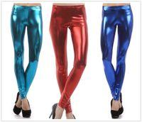 Wholesale Cheap Leggings Plus Size Women - Wholesale-Leggings plus size 2016 fashion women casual Metal texture Candy color legging Fitness Dancing Pants cheap clothes china