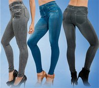 Classic No Leggings PocketPrint Jeans baratos Ripped Denim Spandex Graffiti Fitness Legging para las mujeres Pantalones Leggings Sexy Envío Gratis