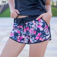 Wholesale Spandex Shorts For Women - Wholesale-Active Short Elastic Waist Colorful Print Running Shorts with Spandex Lining Printed Yoga Shorts For Women Fitness Apparel S M L
