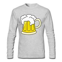 vestido de impressão de água venda por atacado-Gotas de cerveja de Água Branco Camisas de Impressão de Manga Comprida Vestido de Moda T-shirt Novo Padrão Novel Lazer Tempo Tee