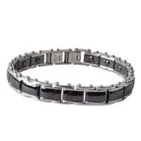 Wholesale Ceramic Magnetic Bracelets Black - 2018 New Fashion Fashion Black Jewelry Healing Magnetic Titanium Bio Energy Bracelet For Men Blood Pressure Accessory