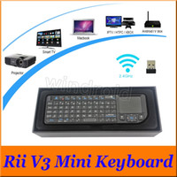 Wholesale hands free keyboard for sale - Group buy Portable Ultra thin RII v3 Bluetooth Mini Keyboard G Wireless Laser Pointer With Mouse TouchPad For PC Smart TV Box retail box Free