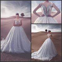 бальное платье свадебное платье серебро оптовых-2017 бальное платье Свадебные платья милая замочная скважина Cap рукава кружева аппликация 3D цветы серебро бисером Кристалл длинный поезд пляж свадебные платья