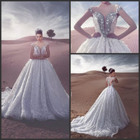 vestido de baile vestido de noiva prata venda por atacado-2017 vestido de Baile Vestidos de Casamento Querida Keyhole Cap Mangas Lace Applique 3D Flores de Prata Frisada Cristal Longo Trem Praia Vestidos de Noiva