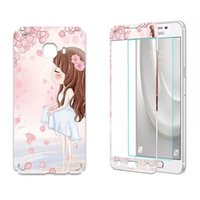 Wholesale Iphone Stickers For Girl - Cartoon Wolf Tempered Glass Premium Screen protector For Samsung Galaxy C5 Full body Front Back Stickers Rose Girl Tower Film Guard Package