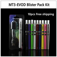 Wholesale E Cigarette Packing - 10pcs lot EVOD MT3 Blister pack kit eGo starter kits single kits e cigs cigarettes 650mah 900mah 1100mah battery MT3 atomizer