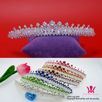 Wholesale Simple Crown Wedding - Bridal Wedding Tiaras Crowns Color Crystal Rhinestone Hair Comb Accessories Princess Pueen Party Prom Night Clup Show Simple Style 01669