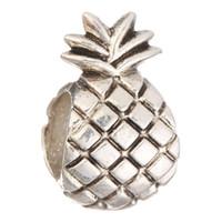 pulseiras de bola colares venda por atacado-Grânulos de abacaxi Mulheres de Prata DIY Charme Bola Solta Bead para Original Europeu Pulseira Colar de Jóias de Luxo # 12