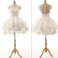 Wholesale Sexy Fancy Dress Mini - Short Prom Dresses 2016 White Appliques Mini Cocktail Gowns Illusion Back Sexy Homecoming Dress Tulle Real Photos Fancy Graduation