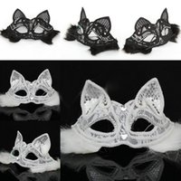 Wholesale Cats Performance - Halloween Sexy Fox Lace Mask Half Face Black White Cat Face Venice Party Mask Cosplay Performance Props Masquerade Supplies