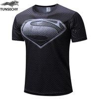 Wholesale Black Marvel Heroes - 2017 Marvel Captain America 2 Gray superman Super Hero T shirt Men fitness clothing short sleeves XS-4XL