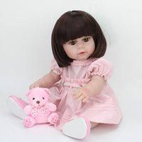 Wholesale Shoes For Dolls - Full Vinyl Dolls 16 Inch 40cm Toys For Girls Silicone Body Doll Reborn Baby Brown Hair Wigs Princess Dress Shoe