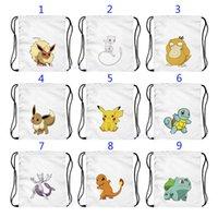 Wholesale Children Cloth Backpack - 20 Style Poke go Pikachu oxford cloth bags children Cartoon Pikachu Jeni turtle Sylveon Poke Ball Mewtwo Drawstring Bag schoolbag B001