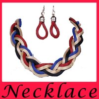 Wholesale Thick Colorful Necklaces - Fashion Weaving Metal Thick Necklace Big Brand Restoring Ancient Ways Colorful Necklace Earrings Set Of Chain