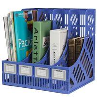 Wholesale Plastic Book Storage - Wholesale-Multifunction Plastic Storage Hanger 4 Section Divider File Paper Magazine Rack Holder Office Home Desktop Book Box Bookshelf