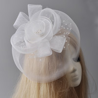 Wholesale cocktail hats china for sale - Group buy White Fashion Fascinator Party Cocktail Women Lady Wedding Lace Netting Veil Hat Hair Clip Handmade Headwear