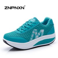 Wholesale Bodybuilding Shoes - ZNPNXN 2016 New Women Shoes Wedge Bodybuilding Shoes Platform Health Lose Weight Women Casual Shoes Fitness Zapatos Mujer Blue