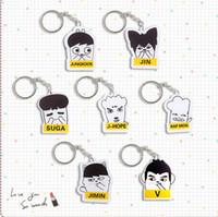 Wholesale Key Finder Free Shipping - 20pcs lot free shipping bts member cartoon acrylic keychain  keyring