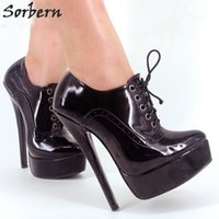 Wholesale Plus Sexy Dresses Day - Sorbern Sexy Cosplay Shoes High Heel Dress Shoes Unisex Lace-up 18CM Heel Sexy Fetish Shoes Heeled Women Pumps Plus Size 36-46 Multi-colors