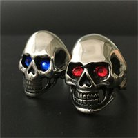 Wholesale Skull Polish - 2pcs lot Polishing Crystal Eyes Ghost Skull Ring 316L Stainless Steel Fast Shipping Band Party Biker Skull Ring