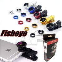 akıllı telefon için objektif toptan satış-3 1 Balıkgözü Lens Metal Klip Balıkgözü Lens Evrensel Geniş Açı Mikro Lens için Samsung S8 Smartphone